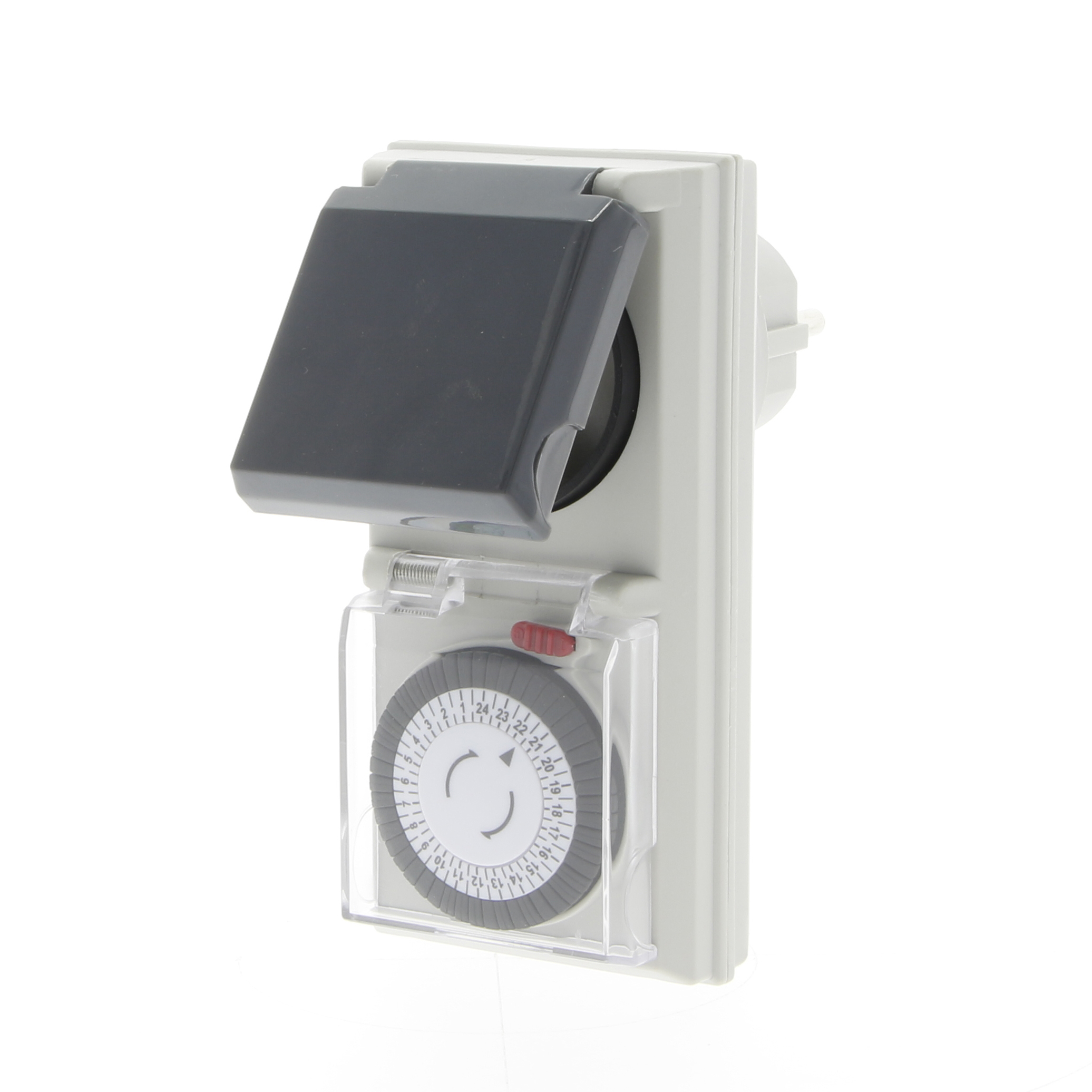 Splash-proof analogue timer with daily cycle
