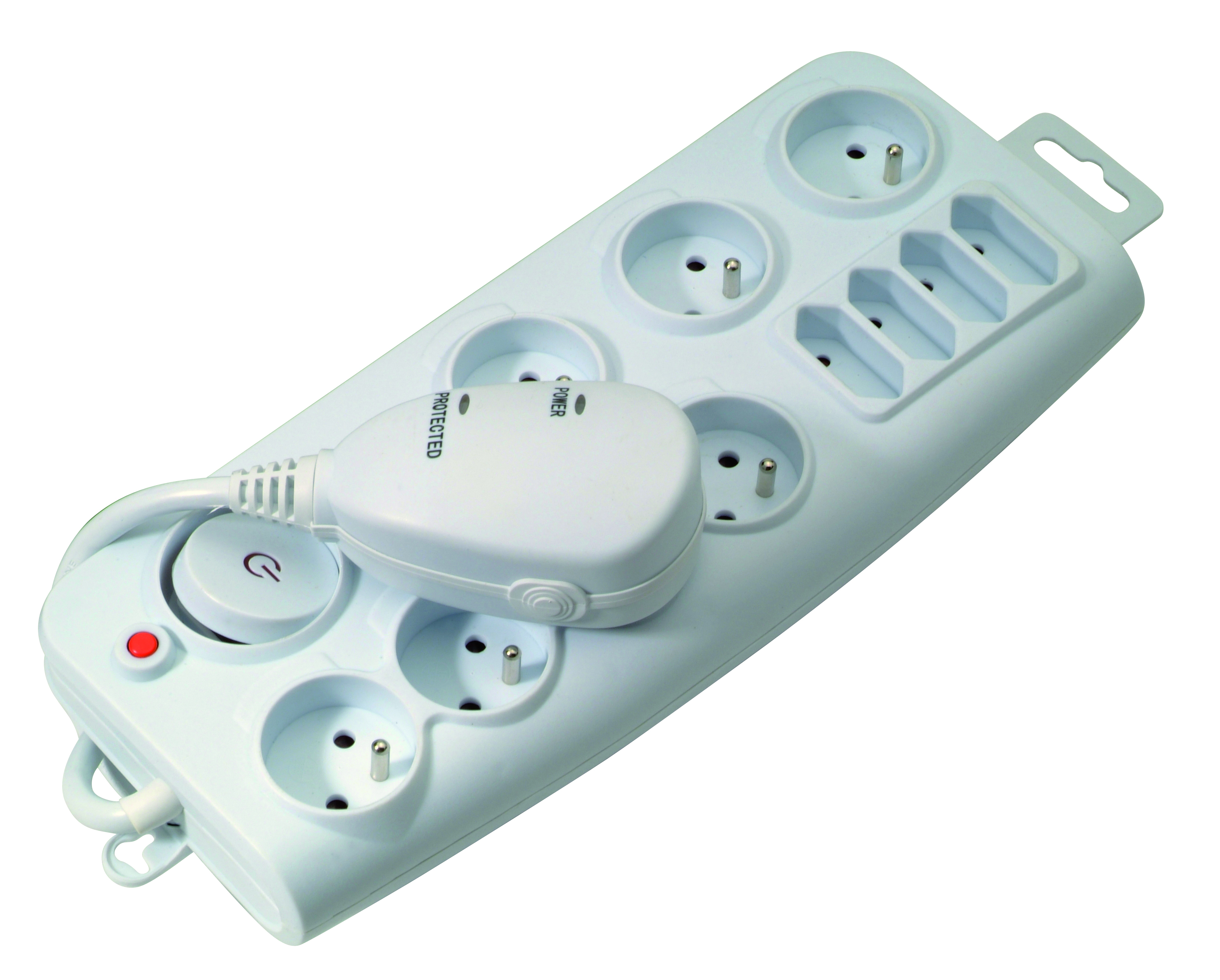 Power strip with switch and surtension protection 1,5m white