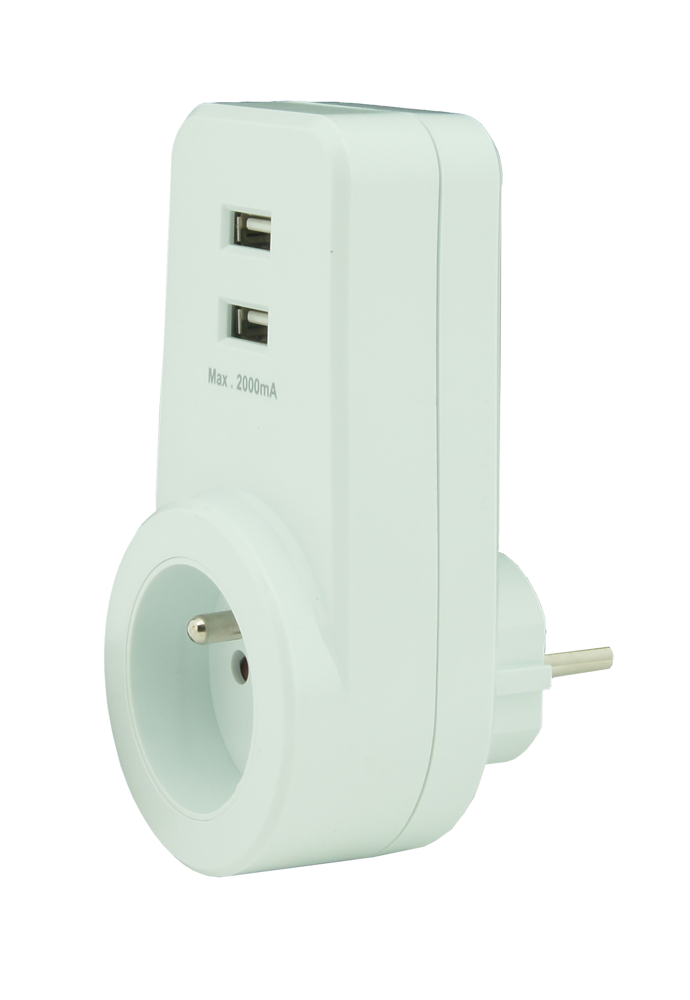 Transit plug with 2 USB outlets