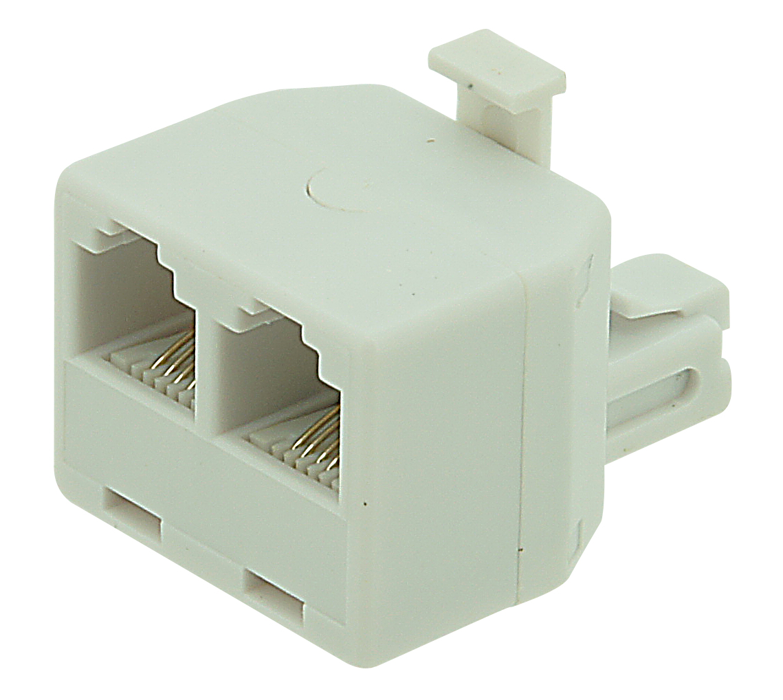 3 way RJ11 domino (male-female-female) 6P4C