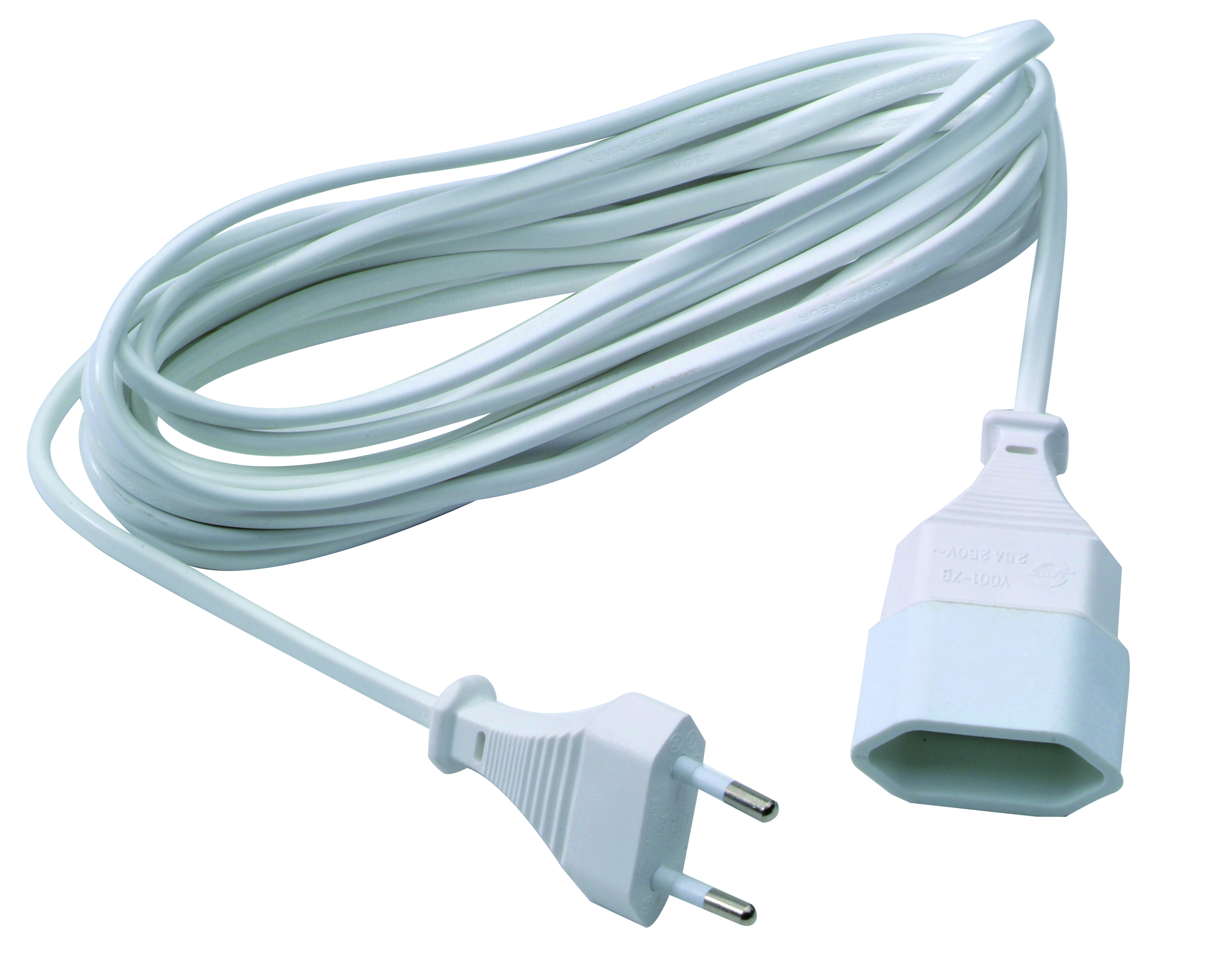 Extensions cord 2x0,75mm² PVC 5m white